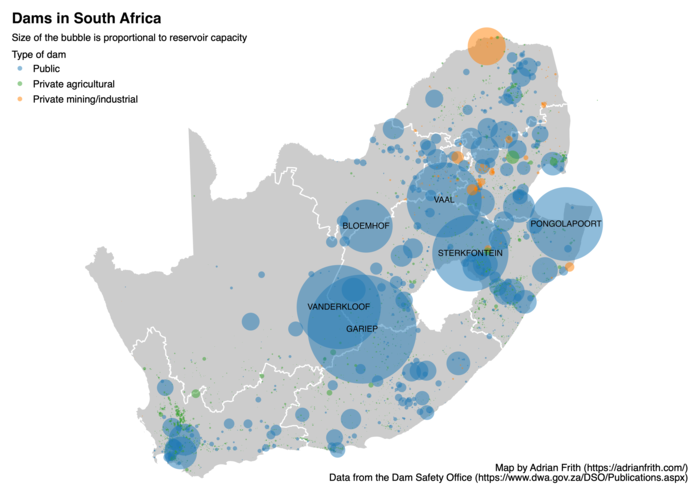 Map showing the capacity of South Africa's dams as circles sized proportionally.