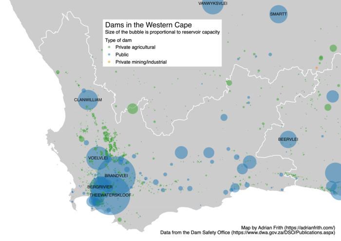 Map showing the capacity of the Western Cape's dams as circles sized proportionally.