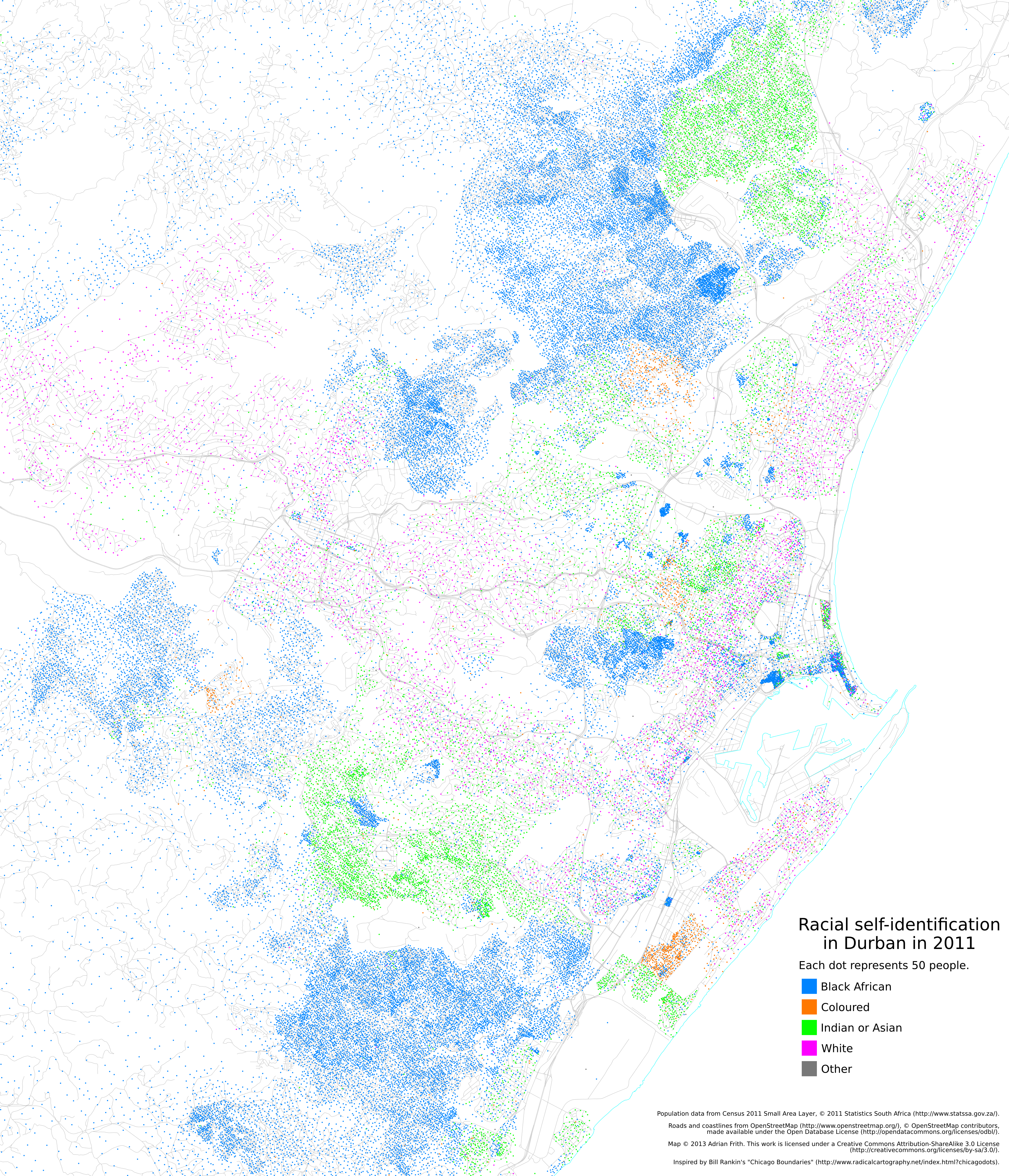 Dot-maps of racial distribution in South African cities – Adrian ...