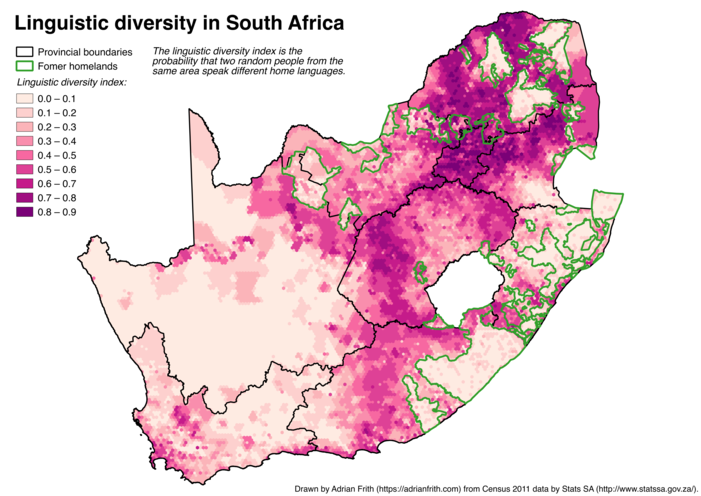A map of South Africa showing the linguistic diversity index calculated on a 10-kilometre-wide hexagonal grid with former homeland boundaries overlaid