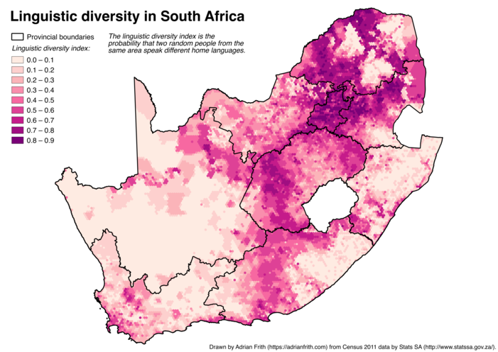 A map of South Africa showing the linguistic diversity index calculated on a 10-kilometre-wide hexagonal grid