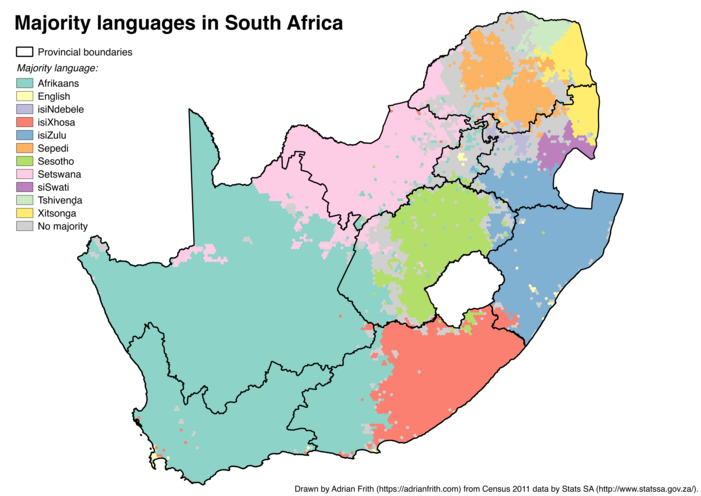 A map of South Africa showing the majority language calculated on a 10-kilometre-wide hexagonal grid