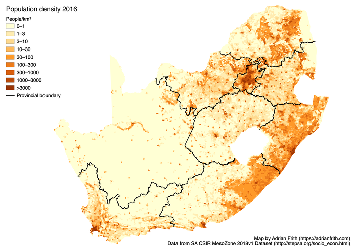 Map showing the population density in South Africa in 2016 according to CSIR Mesozone.