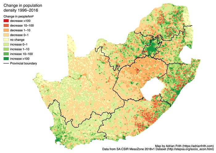 Map showing the change in population density in South Africa from 1996 to 2016 according to CSIR Mesozone.