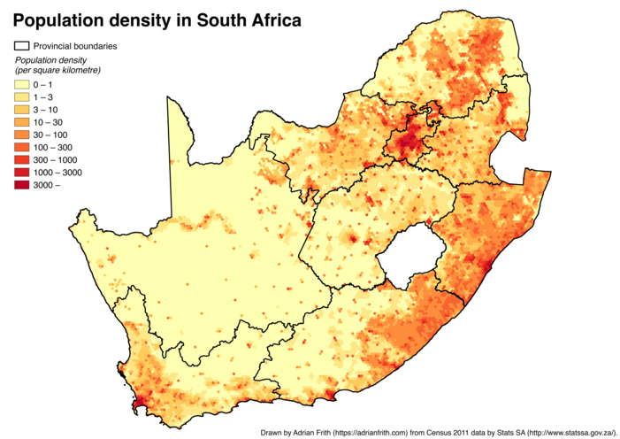 A map of South Africa showing the population density calculated on a 10-kilometre-wide hexagonal grid
